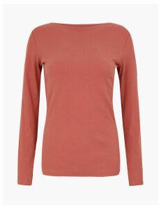 M&S Collection Cotton Rich Slash Neck Long Sleeve Top