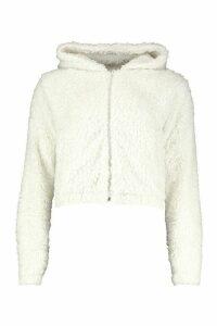 Womens Hooded Faux Fur Teddy Jacket - White - 14, White