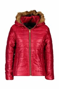Womens Hooded Faux Fur Trim Puffer - red - 14, Red