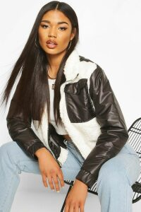 Womens Teddy Faux Fur Mix Puffer Jacket - black - 14, Black