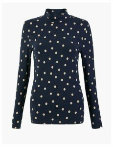 M&S Collection Cotton Rich Polka Dot Turtle Neck Top