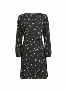 Womens Black Floral Print Pleat Neck Fit And Flare Dress, Black