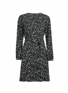 Womens Black Abstract Print Pleat Neck Fit And Flare Dress, Black