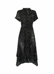 Womens **Billie & Blossom Black Star Print Shirt Midi Dress, Black