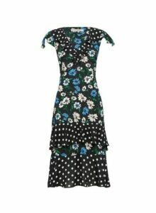 Womens **Billie & Blossom Black Ruffle Floral And Spot Print Midi Skater Dress, Black