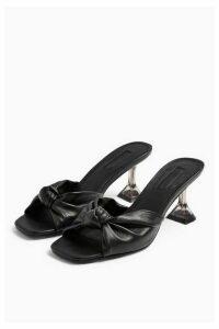 Womens Rizz Black Knot Transparent Mules - Black, Black