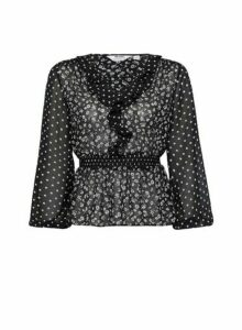 Womens Petite Sheer Mix And Match Print Floral Top- Black, Black