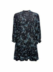 Womens Blue Floral Tunic Top - Black, Black