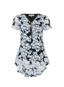 Womens Billie & Blossom Multi Colour Zip Detail Floral Print Top - Black, Black