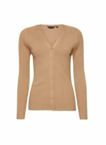 Womens Camel Fitted Rib Cardigan- White, White