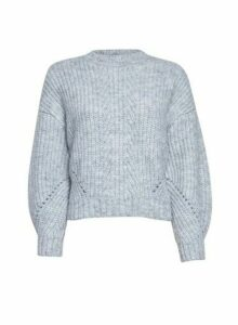 Womens Petite Grey Pointelle Stitch Jumper, Grey