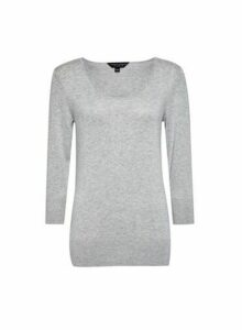 Womens Grey Marl Scoop Neck Jumper, Grey