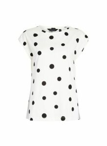Womens Spot Print Roll Sleeve T-Shirt- Cream, Cream