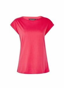 Womens Organic Cotton Hot Pink Roll Sleeve T-Shirt, Pink