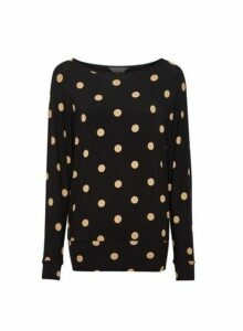 Womens Black Spot Print Batwing Sleeve Top, Black