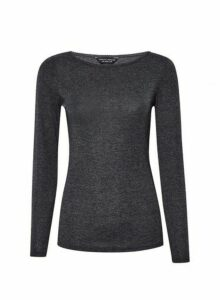 Womens Charcoal Cocotte Trim Top- Grey, Grey