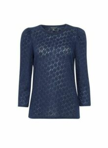 Womens Navy 3/4 Sleeve Jacquard Top - Blue, Blue