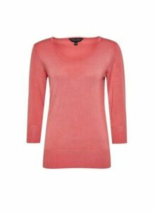 Womens Coral Scoop Neck Jumper, Coral