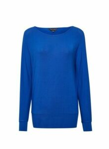 Womens Blue Batwing Sleeve Top- Cobalt, Cobalt
