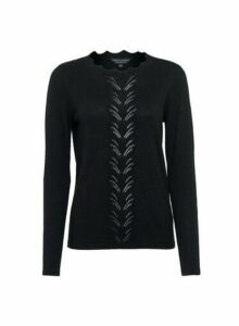 Womens Black Pointelle Jumper, Black