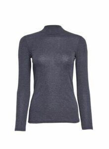 Womens Petite Charcoal Funnel Neck Top- Grey, Grey