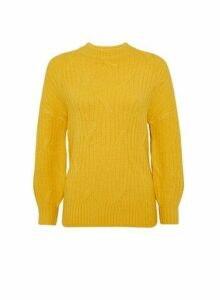 Womens Petite Yellow High Neck Jumper- Orange, Orange