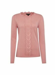 Womens Dark Rose Pointelle Jumper - Pink, Pink