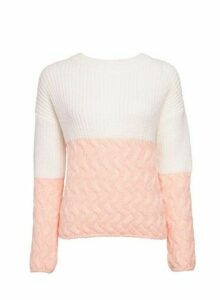 Womens Cream Colour Block Jumper, Cream