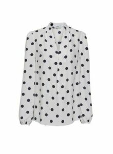 Womens **Tall White Spot Print V-Neck Blouse- Multi Colour, Multi Colour