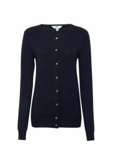 Womens **Tall Blue Button Detail Cardigan, Blue