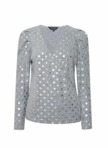 Womens Grey Foil Spot Brushed Wrap Jumper, Grey