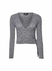 Womens **Lola Skye Grey Ballerina Wrap Top, Grey