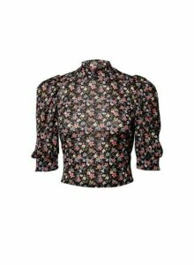 Womens **Lola Skye Black Floral Print Puff Top- Multi Colour, Multi Colour