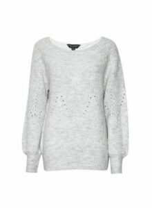 Womens Grey Pointelle Jumper With Recycled Yarns, Grey