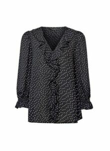 Womens Black Spot Print Dobby Ruffle Shirt, Black