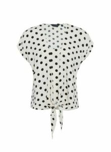 Womens Ivory Spot Print 2-In-1 Tie Top, Ivory