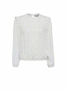 Womens Billie & Blossom Petite Lemon And Blue Spot Blouse - White, White