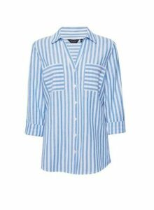 Womens White And Blue Striped Linen Shirt, White