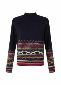 Hollie Merino Wool Blend Sweater Navy Multi