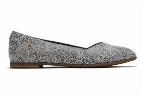 TOMS Off White Leopard Print Suede Women's Julie Flats Shoes - Size UK3.5