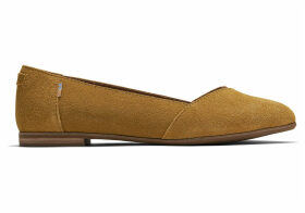 TOMS Amber Gold Suede Women's Julie Flats Shoes - Size UK8
