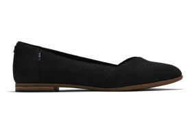 TOMS Black Perforated Suede Women's Julie Flats Shoes - Size UK3