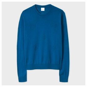 Women's Blue Openwork Wool-Silk Sweater