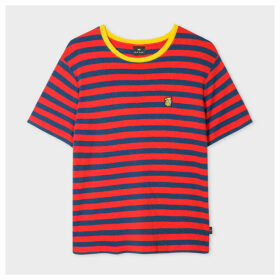 Women's Red And Blue Stripe T-Shirt