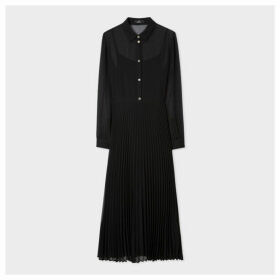 Women's Black Midi Shirt Dress With Pleated Skirt Section