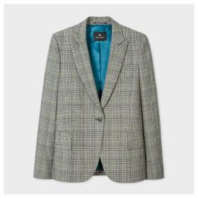 Women's Grey Prince Of Wales Motif Cotton-Blend One-Button Blazer