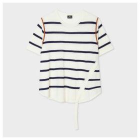Women's Ecru Wool Stripe Short-Sleeve Sweater