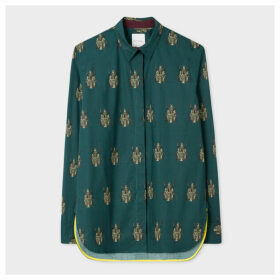 Women's Dark Green 'Beetle' Cotton Shirt