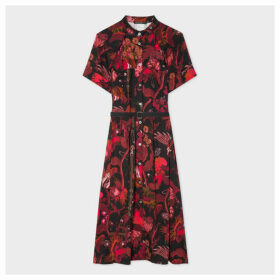 Women's Red 'Beetle Botanical' Print Shirt Dress