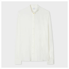 Women's Off-White Silk-Blend Shirt With Double Button Collar